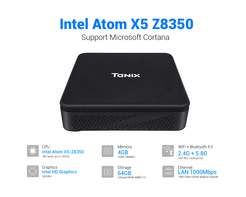 New Generation Minibox TX85 Mini PC Intel AtomX5-Z8350 4G64G VGA 4Core Win10 BT 5.8gwifi Set Top Box1000Mbps Bluetooth 4.0 64Bit