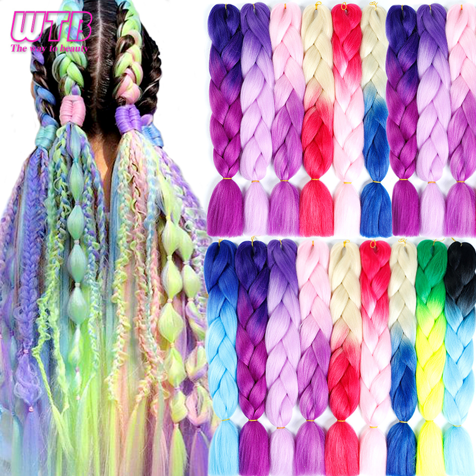 WTB 100g/pack 24inch Long Jumbo Synthetic Braiding Hair Pink Blonde Purple Color Ombre Crochet Braids Hair Extensions For Woman