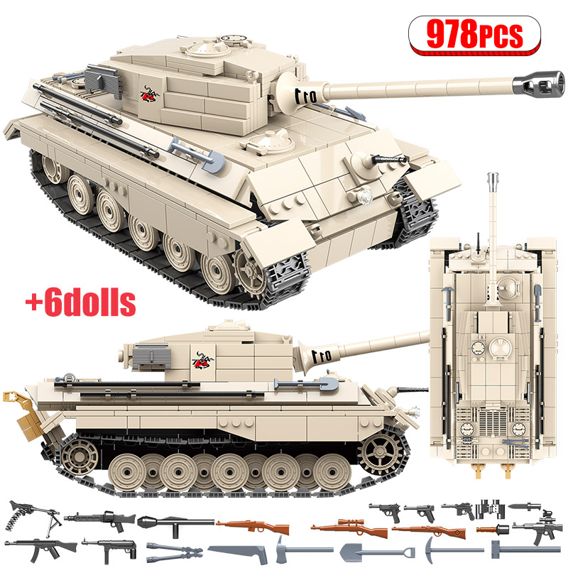 978pcs Army WW2 German King Tiger Tank Building Blocks Compatible Legoingly Military Tank Soldier Weapon Bricks Toys For Boys