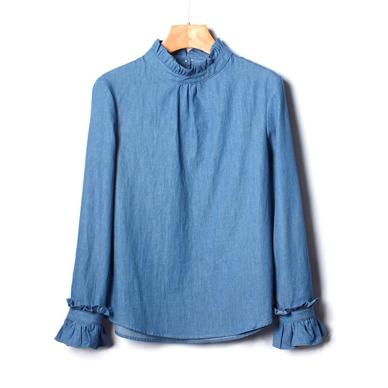 2019 Новый 100% хлопок оборки женщины Блузка Твердые свободные Элегантная Дамская офисная белые рубашки Бабочка рукавами универсальная Верхня