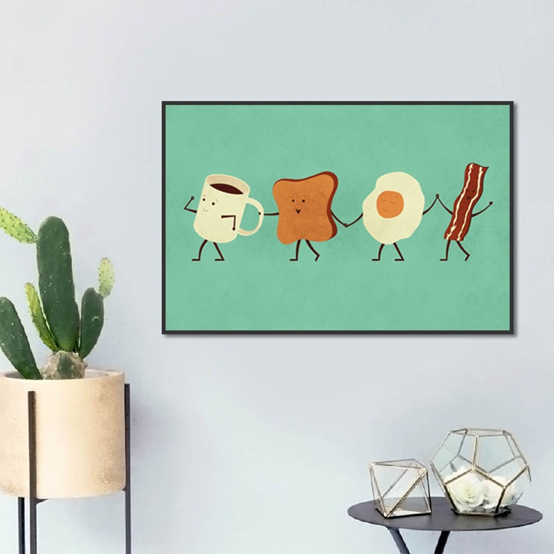 Cute Cartoon Style Cup Toast Slices Fried Egg Bacon Canvas Painting Posters And Prints Wall Pictures For Living Room Decoration
