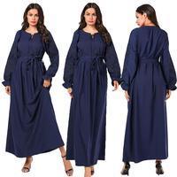 Navy Abaya Embroidery Long Sleeve Dress Women Muslim Islamic Jilbab Robe Dubai Gown Drawstring Belt Dresses 2019 Autumn Fashion