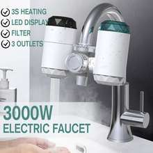 Instant Hot Water Faucet 3000W 220V Electric Water Heater 3s Fast Heating Water Tap Hot/Cold Water Purifier 7 Stage Filtration