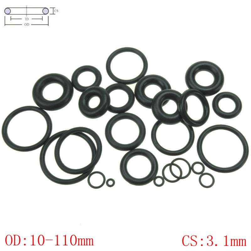 20pcs OD 10-54mm CS 3.1mm Silicon Rubber O Ring Seal Gasket Red Heat Resistance