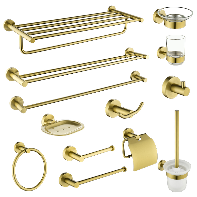 Gold Brushed Bathroom Accessories Hardware Set Toilet Brush Holder Paper Holder Towel Rack Robe Hook Soap Dish Towel Ring