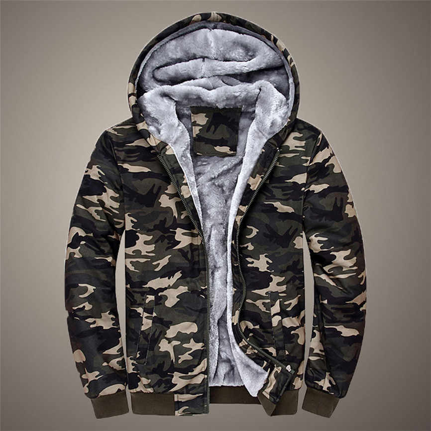 Man Jassen Winter Merk Mens Camouflage Hoodie Winter Warm Fleece Rits Trui Man Jas Outdoor Jas Grote size