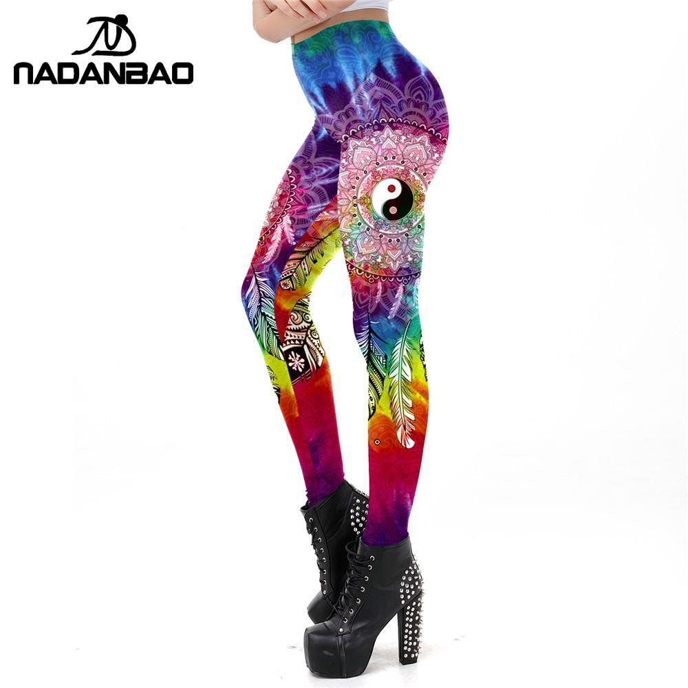 NADANBAO Classic Chinese Style Leggings For Women Yin And Yang Printing Workout Leggins BOHO Rainbow Vortex Prints Fitness Legin