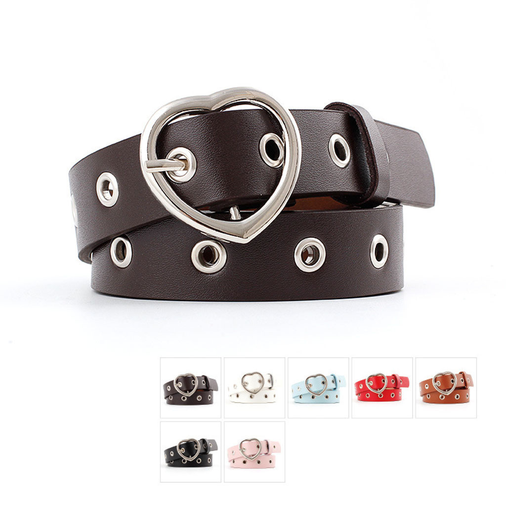 Fashion Women PU Leather Metal Heart Belt Female Cute Black Harajuku Belt Ladies Pants Party Dress Heart Belts For Jeans 916