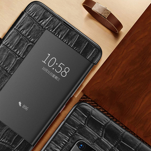 Image 2 - Luxury smart touch flip case for Huawei mate20 p30 p20 mate10 Pro lite view window leather crocodile skin protection Phone cover