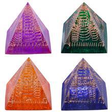 TUMBEELLUWA Healing Crystal Copper Wire Orgonite Pyramid Energy Generator Stone Figurine for Meditation Reiki Balancing