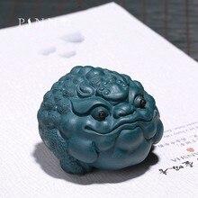 PINNY Argila Roxa Lindo Sapo Chá Pet Lama Verde Mascote Chinês Estátuas de Cerimônia do Chá Yixing Zi Sha Enfeites de Mesa Artesanato