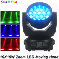 Newest LED 19X15W RGBW Zoom Moving Head Light Professional Stage Beam Disco Wash Light Music Party Show Xmas Wedding DJ Lights