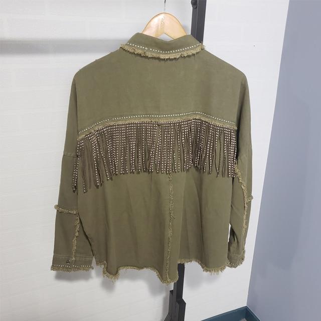 Toppies 2020 printemps glands pour poitrine Denim veste lâche armée vert bouton manteau femme jean veste irrégulière ourlet Streetwear 6
