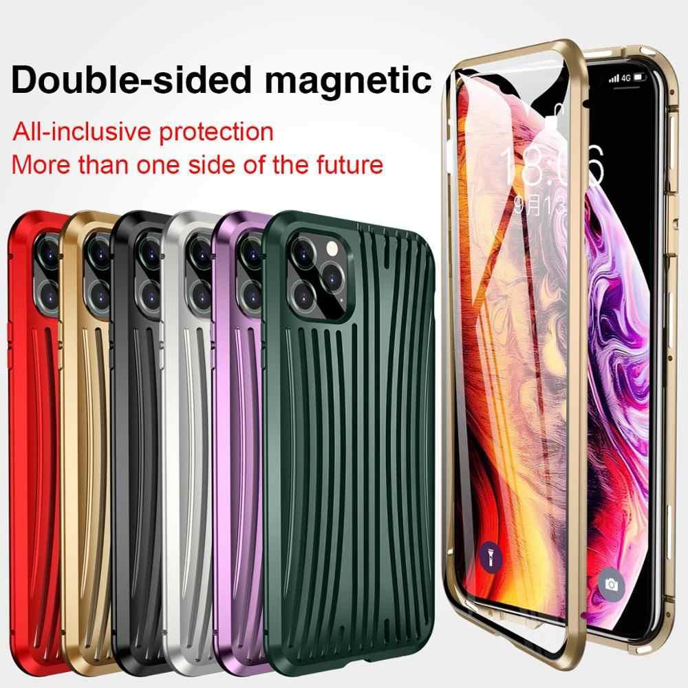 KISSCASE المعادن المغناطيسي حقيبة لهاتف أي فون 11 برو ماكس XS XR مزدوجة الوجهين الزجاج المغناطيس خزائن هاتف آيفون 7 8 X XS ماكس 7 8 زائد غطاء