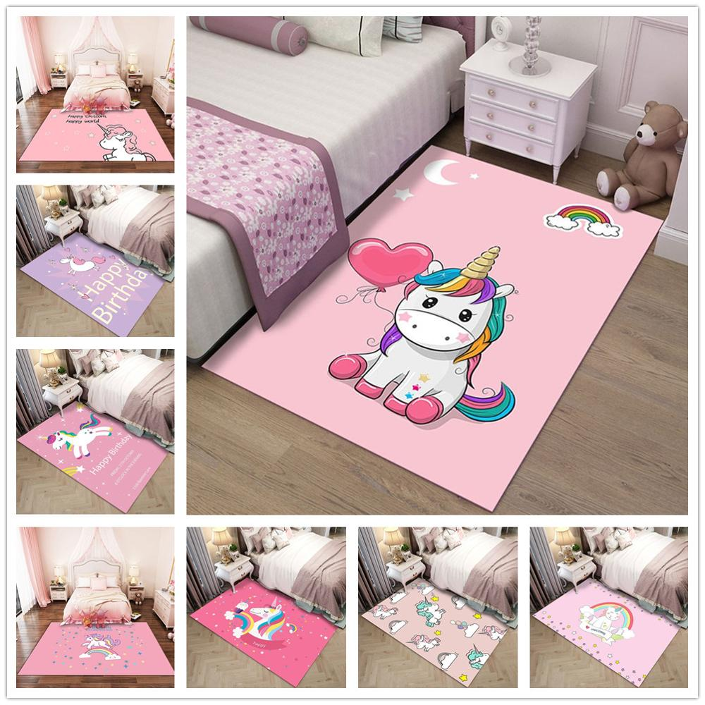 Pink Cartoon Unicorn Pattern 3D Carpets Child Bedroom Play Rug Kids Room Decor Carpet Baby Crawl Mat Children Christmas Gift Rug