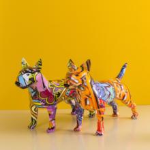 Arte criativa colorido bull terrier pequeno inglês resina cão artesanato decoração para casa cor moderno simples escritório artesanato