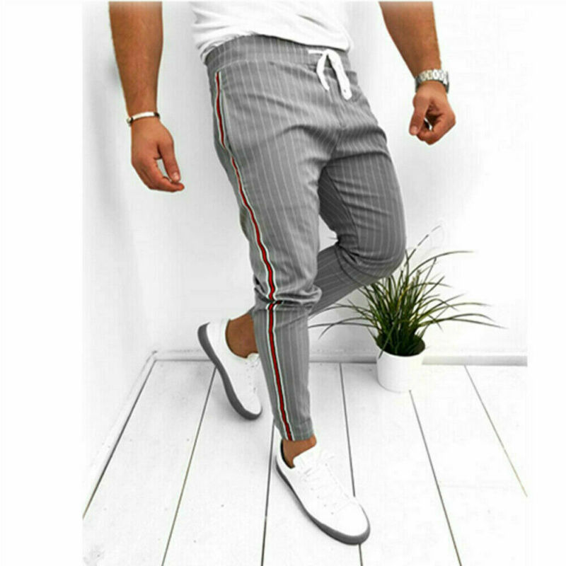 Men Formal Striped Pants Slim Fit Casual Business Pant Mens Office Long Straight Trousers For Men