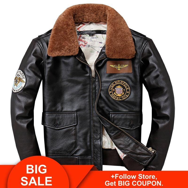 Мужская кожаная куртка Авиатор, винтажная коричневая куртка Авиатор из натуральной воловьей кожи, большой размер, XXXL, 2020|Кожаные куртки|   | АлиЭкспресс