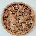 Китайский скульптура ручной работы Цветы лотоса продукция DOUBLE FISH статуя животного приносящий богатство и удачу