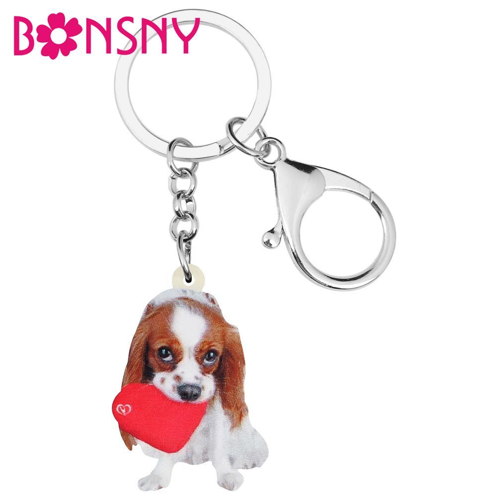 Bonsny Acrylic Valentine's Day Cavalier King Charles Spaniel Dog Key Chains Ring Bag Car Purse Keychain For Women Girl Teen Gift