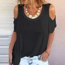 Verão feminino em torno do pescoço casual solto plus size cor sólida t camisa fora do ombro roupas topos S-5XL