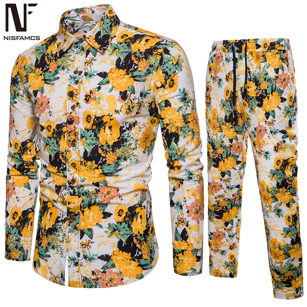 Hawaiian 5XL Set Floral Men Party Suit Fitness Vintage Tracksuit Plus Size Long Sleeve Shirt + Flowers Pants Streetwear 2019