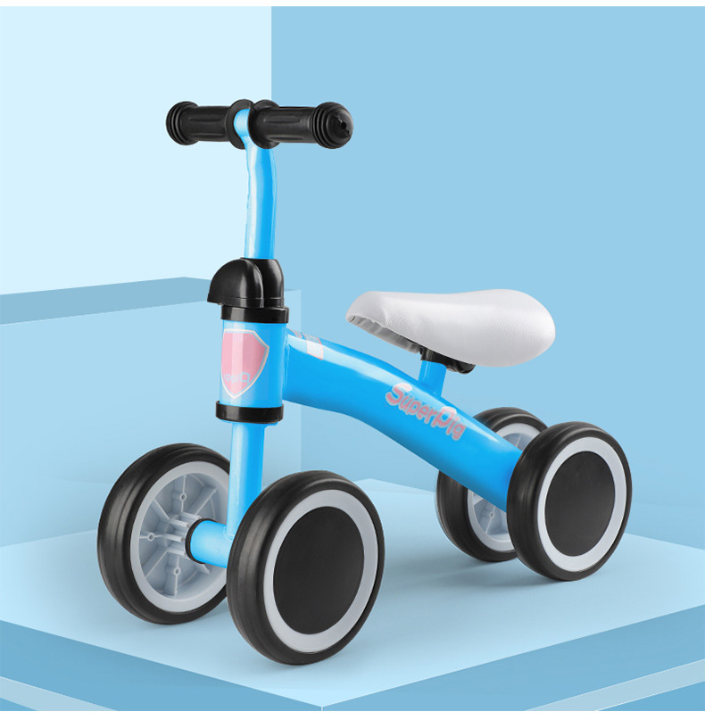 SuperPig 12 Inch Toddler Bike No Pedals For 2 – 4 Year Old, 4 Wheel - (Blue/Red/Pink/White) 1