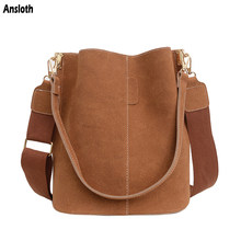 Ansloth Retro High Capacity Bucket Bags Nubuck Leather Shoulder Bag For Women Designer Brand Hand Bag Luxury Lady Crossbody Bags