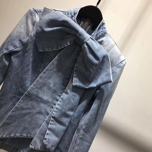 Image 5 - TWOTWINSTYLE Vintage Bowknot Denim Shirts Women Bow Collar Long Sleeve Slim Lace Up Blouses Tops Female 2020 Fashion Tide