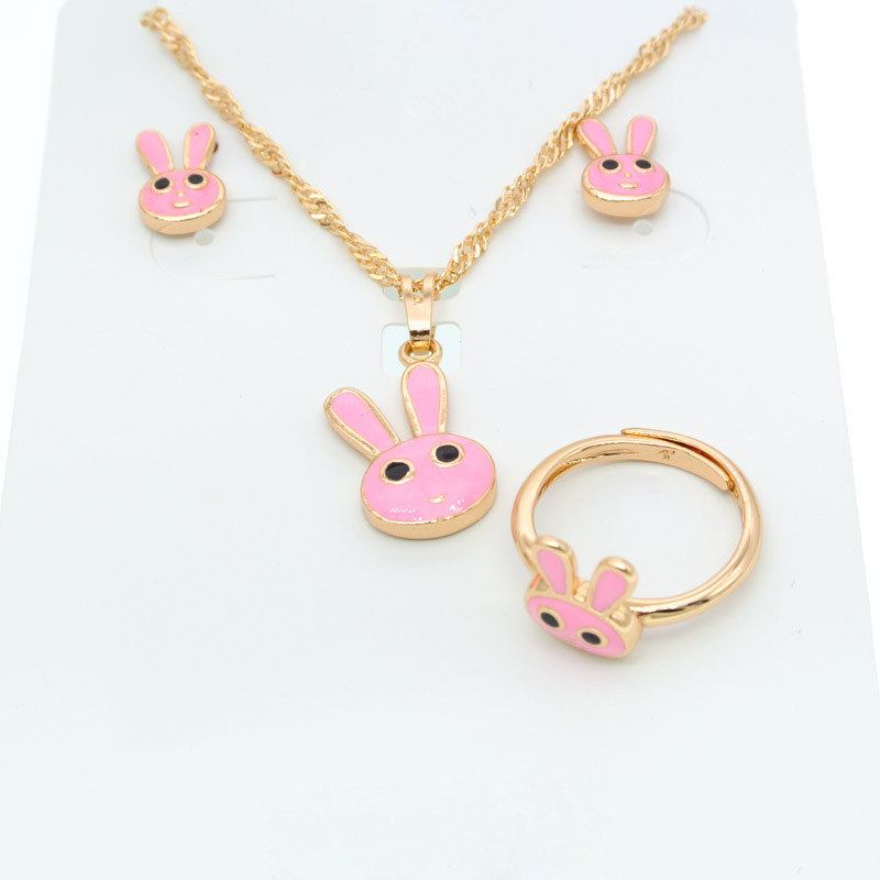 Lovely Gold Jewelry Set for Kids Gift New Born Baby 35cm Necklace Ring Earring Bijoux Bebe Dubai Jewellery Sets Children S0306