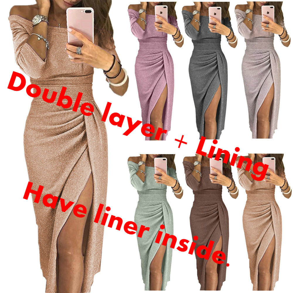 10 Colors S-5XL Clothes Women Vestidos Tight Shiny Long Club Silk  Night Party Sexy Sukienka Sequin Dresses + Lining 65% COTTON