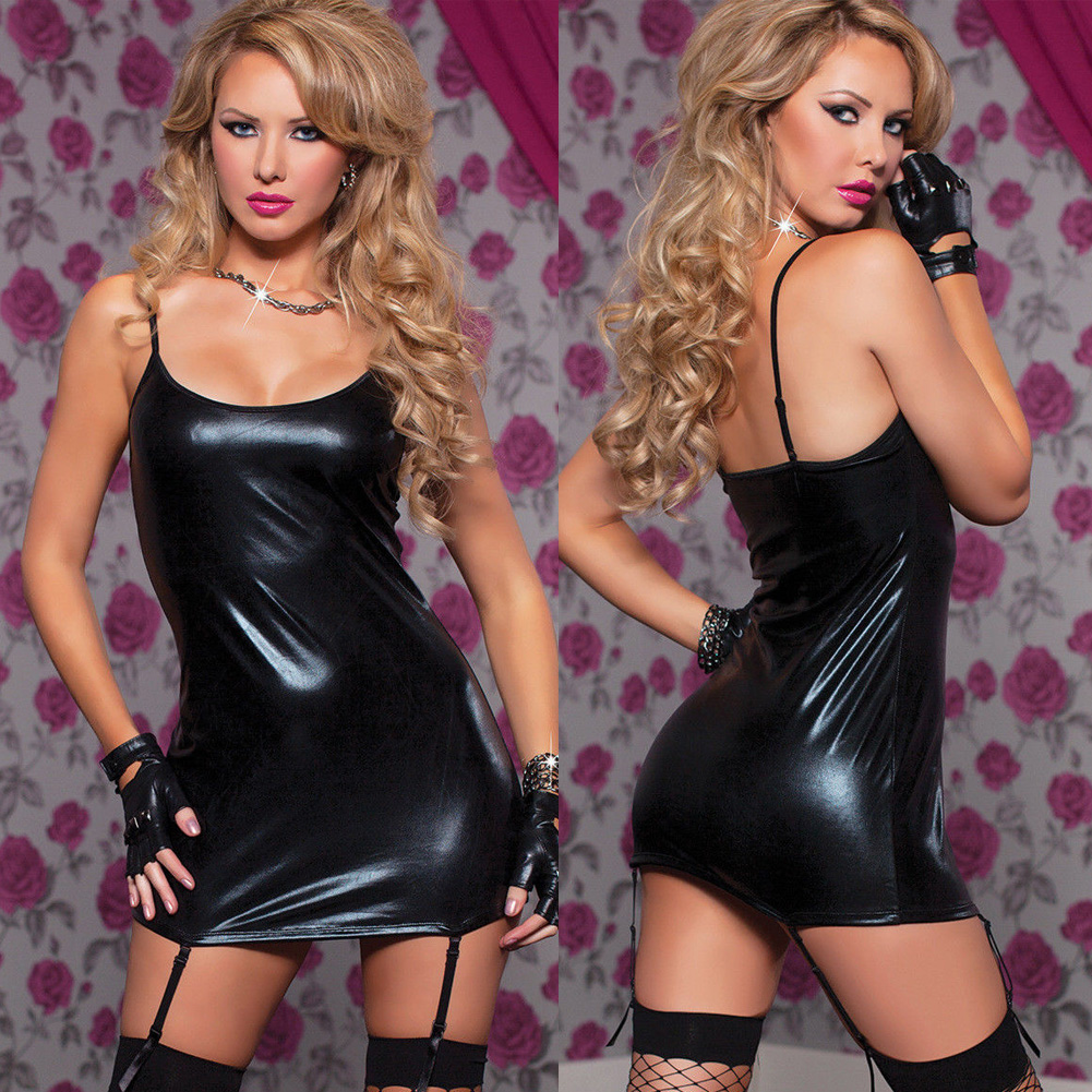 2019 Sexy Lingerie Women Sleepwear PU Leather Mini Dress Underwear Babydoll Nightwear Hot