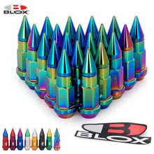 Porcas de alumínio estendidas 20 pçs/set blox racing jdm estilo 50mm, sintonizador com pico para rodas e jantes m12x1.25/m12x1.5»