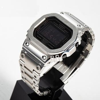 Para GW5600 Correa GW5610 caja de bisel de acero inoxidable DW5600 correa de Metal G-5600E correa de reloj