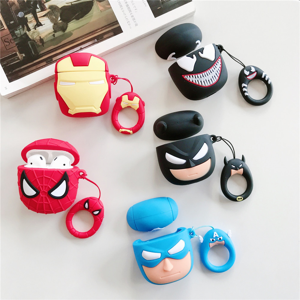 New Cartoon Superheros Bluetooth Earphone Case Protective Cover Skin Accessories For Apple Airpods Cases Charging Box With Hooks