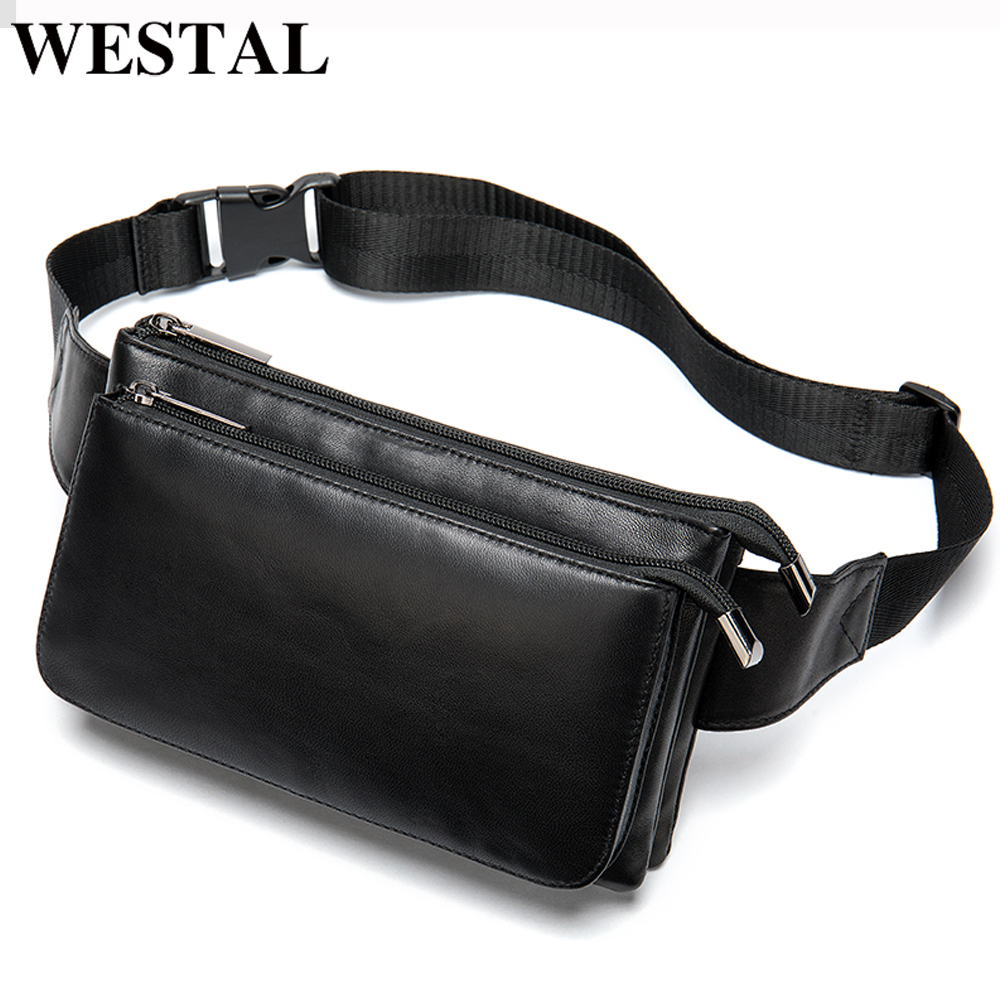 WESTAL 100% Sheep Leather Men Waist Bag Belt Men Small Money Pouch Leather Male Fanny Pack Black Wasit Pack Man Hip Bags 8940