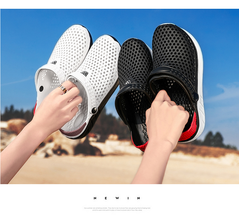 H57ab97e926eb4ece938cbd3aa722f29bV - Summer Beach Sandals Lightweight Lovers Garden Shoes Non-slip Water Shoes Men White Slippers Clogs For Women Size 36-45