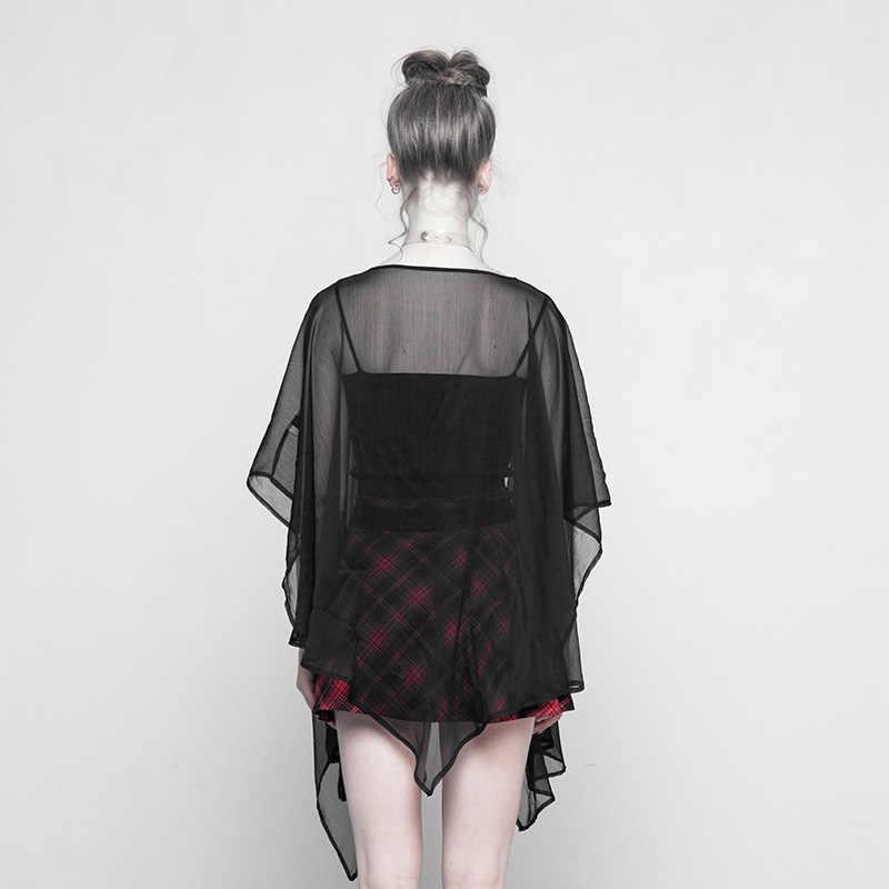 PUNKRAVE женская готическая шифоновая многофункциональная шаль Солнцезащитная куртка с кисточками Pendantx летняя куртка-кардиган