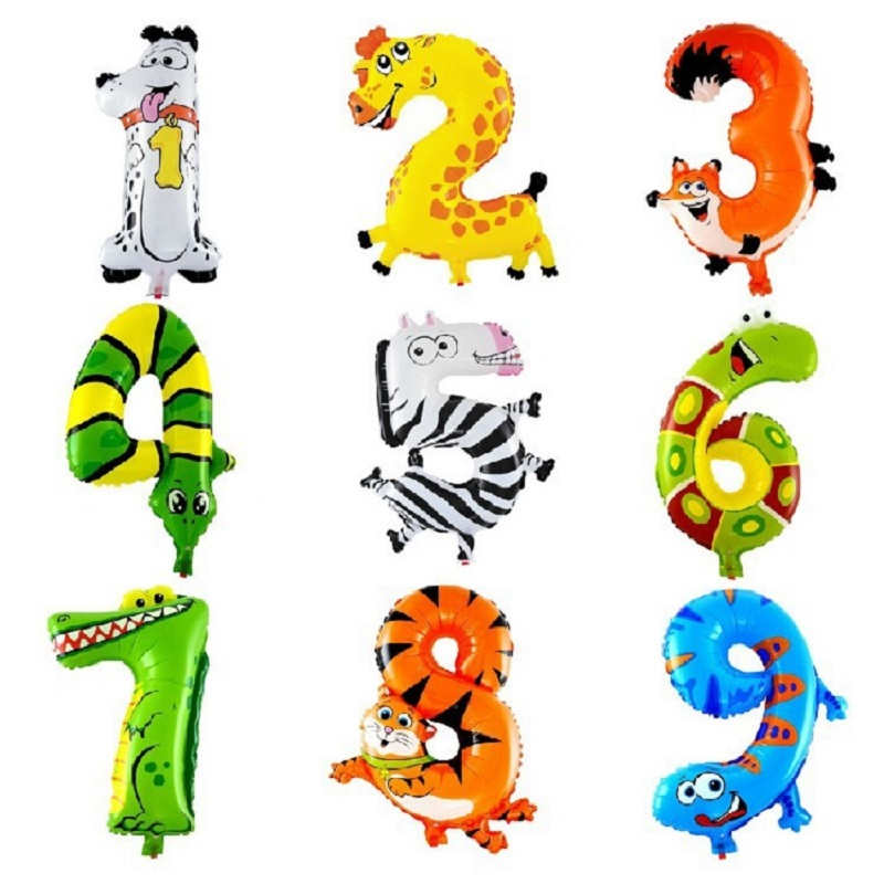 10 Pcs/lot Cartoon Animals Number Balloons Digit Aluminum Foil Balloons Birthday Party Wedding Decor Air Baloon Kids Party Gifts