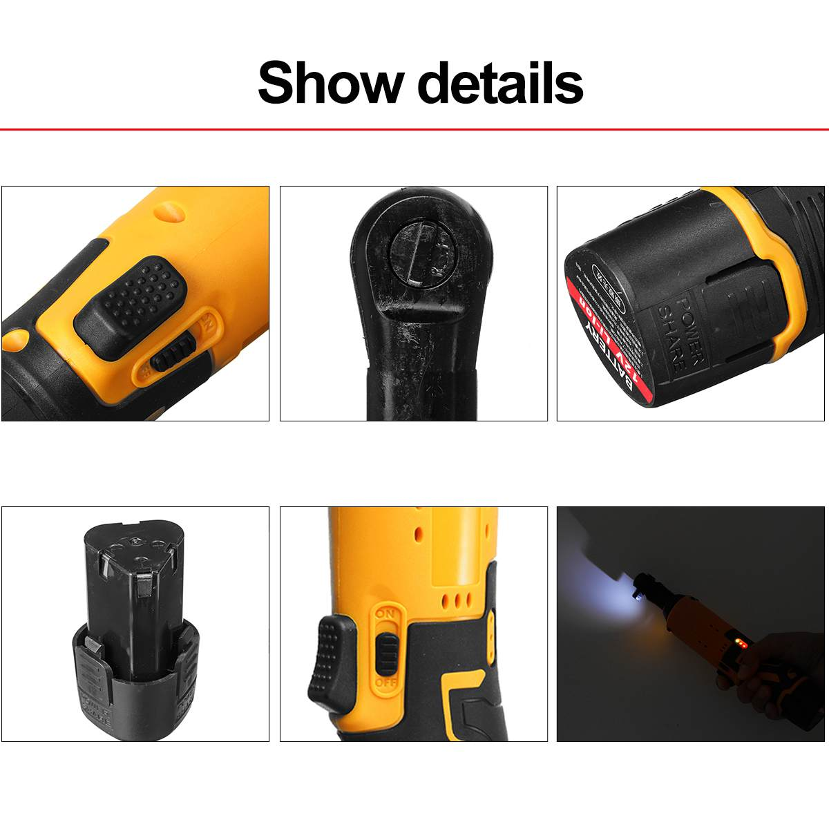 With Tool Wrench Set Battery 100Nm   3 Cordless Wrench 8 Electric Rechargeable Right Angle Ratchet Powerful 12V