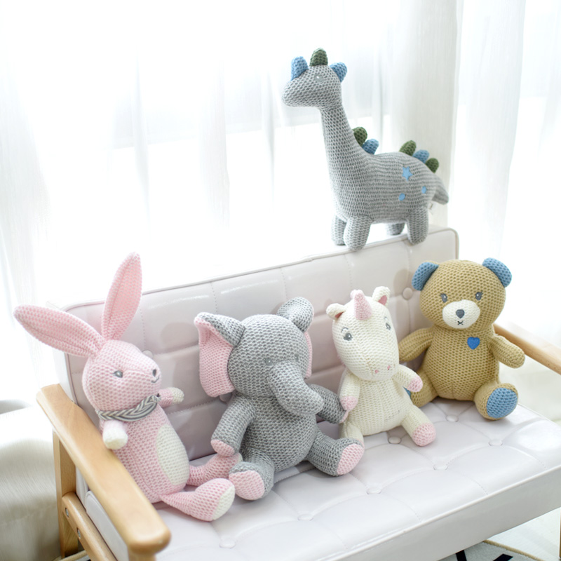 Korea Ins Hot Rabbit Elephant Unicorn Plush Toy Bell Cute Baby Soothing Doll Knitted High Quality Birthday Gift For Kids Newborn