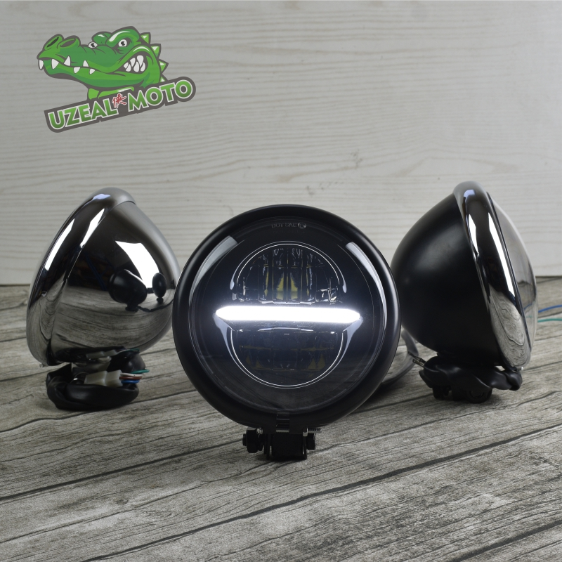 Retro Prince motorcycle modification custom general universal <font><b>883</b></font> <font><b>LED</b></font> headlight daytime running light High-Low super bright head image