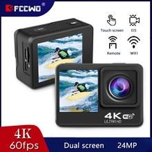 Fccwo h11 câmera de ação 4k 60fps 24mp 2.0 touch lcd eis tela dupla wifi à prova d4x água controle remoto 4x zoom ir esportes pro veio