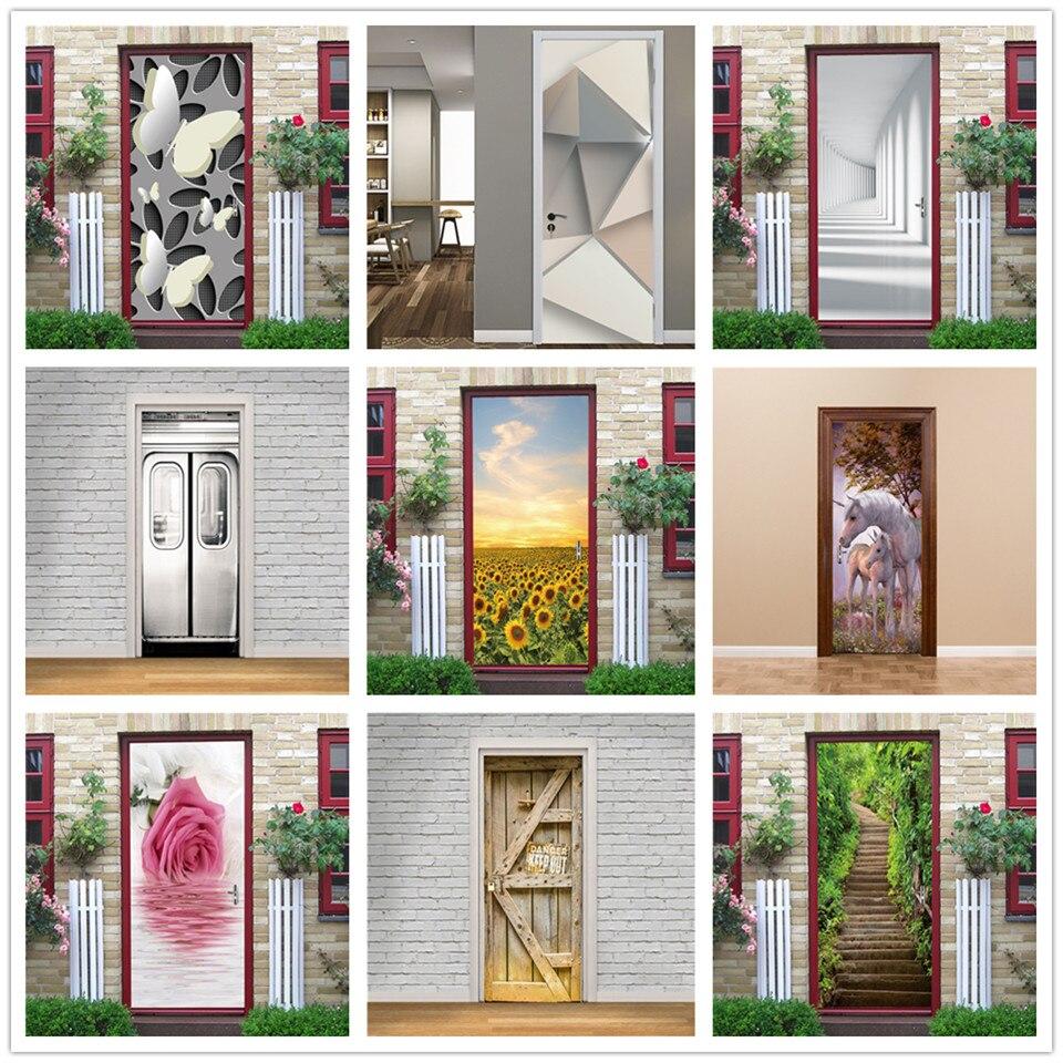 3D Butterfly Wallpaper For Door Vinyl Adhesive Waterproof Poster Wall Decals Home Design Stickers On The Doors Room Decoration