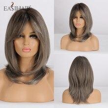 EASIHAIR peruki syntetyczne dla kobiet szare krótkie peruki z grzywką warstwowe naturalne włosy peruki codzienne Bob fryzura peruka żaroodporne