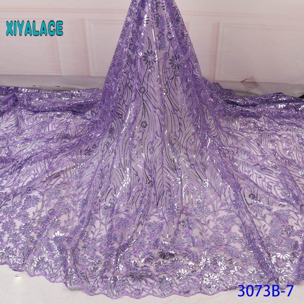 Luxury Pure Purple Black African Sequins Mesh Lace Fabric 2019 High Quality Nigerian French Tulle Lace Net Lace Fabric YA3073B-7