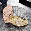 Лидер продаж  мужские часы с бриллиантами  модные большие часы в стиле хип-хоп  кварцевые часы с календарем  ювелирные изделия золотого и зол...
