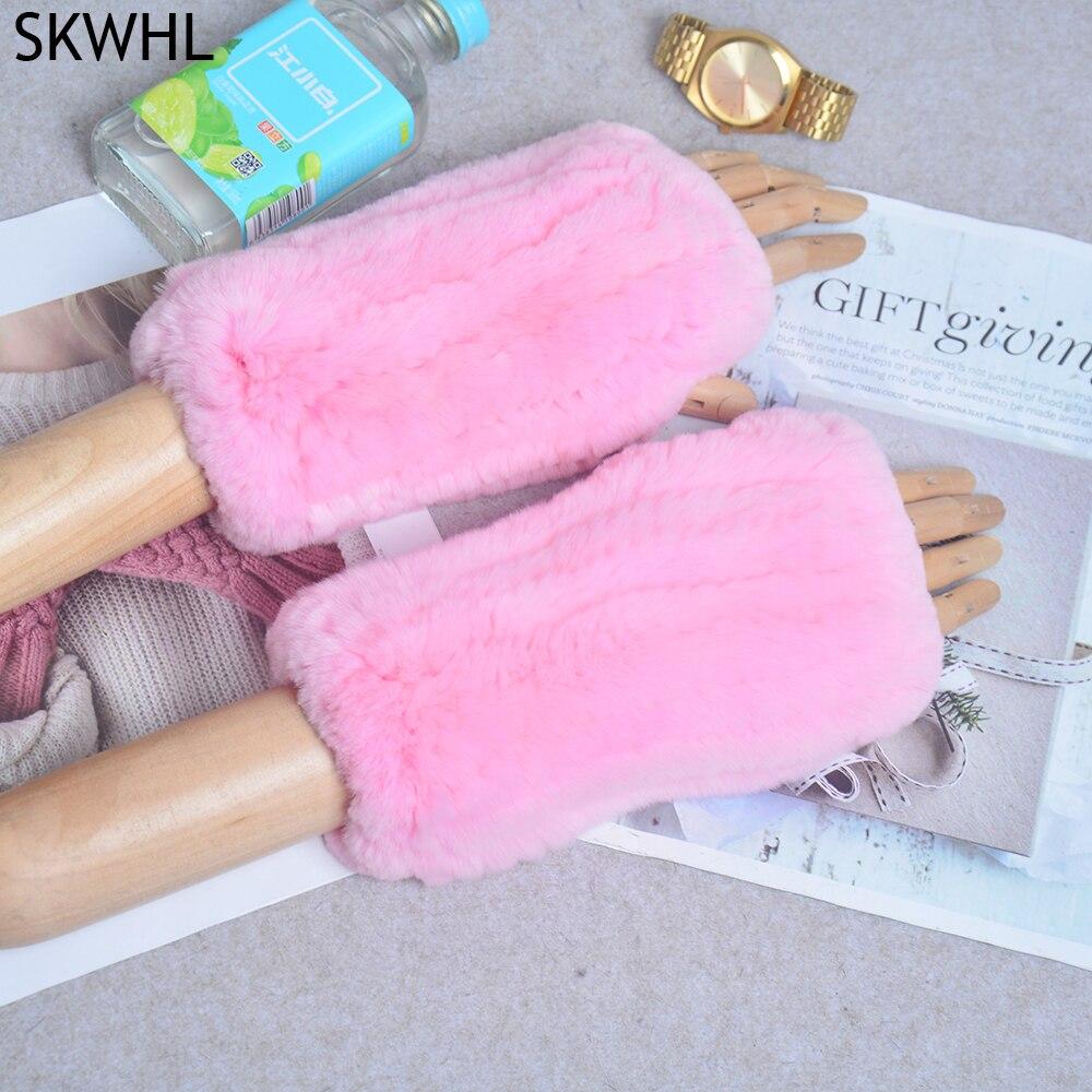 Women 100% Real Genuine Knitted Rex Rabbit Fur Mittens Winter Warm Lady Real Rex Rabbit Fur Gloves Handmade Knit Real Fur Gloves