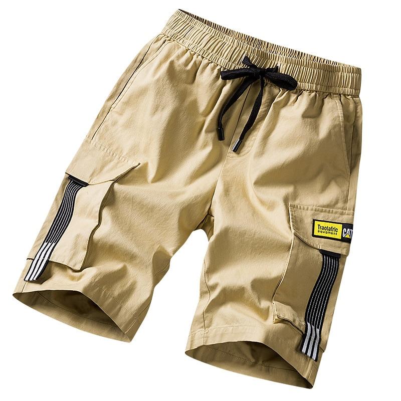 Streetwear Shorts Black 2020 Summer Fashion Cotton Side Pockets Breeches Bermuda Male Elastic Waist Band Casual Cargo Shorts Men