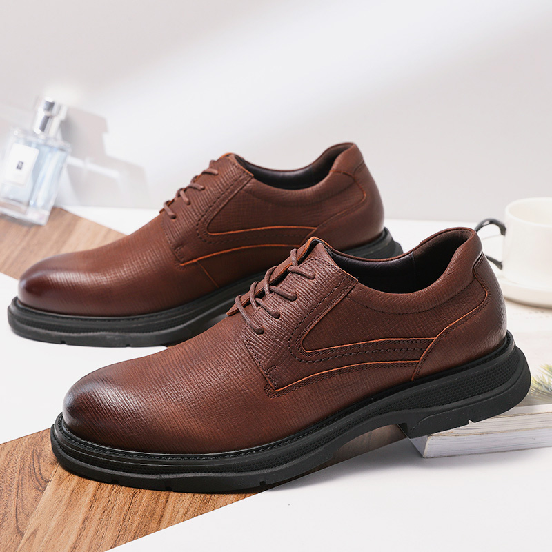 CAMEL Genuine Leather Men's Shoes England New Fashion Business Casual Lightweight Flexible Non-slip Comfortable Dad Sheos Men 5